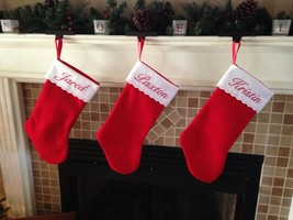 "12"" Personalized Embroidered Felt Christmas Stocking - $7.95"