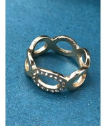 Estate Goldtone Open Oval w Clear Rhinestone Accents Band Ring Size 11.5... - $11.29