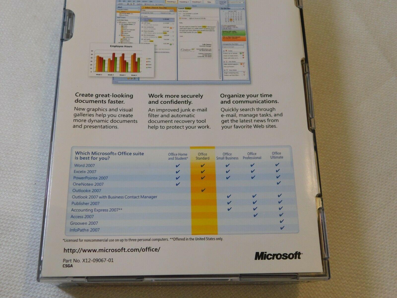 Microsoft Büro Standard 2007 PC Upgrade 021-07668 Geöffnet NOS Neu Word Excel image 5