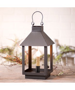 SQUARE CANDLE LANTERN ACCENT LAMP ~ Versatile Tin Light in Smokey Black ... - $49.47
