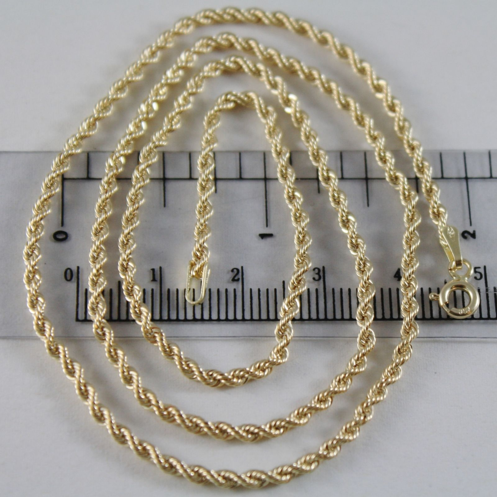 18K YELLOW GOLD CHAIN NECKLACE, BRAID ROPE LINK 23.62 INCHES 60 CM MADE IN ITALY