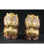 Vintage  Salt Pepper Shakers Brown Ceramic Jigg... - $24.99