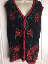 EUC Ugly Christmas Sweater Vest Bobby Brooks Size XL 16/18 Holiday Poins... - $13.49