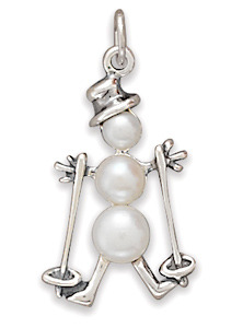 72725 cultured freshwater pearl skiing snowman charm