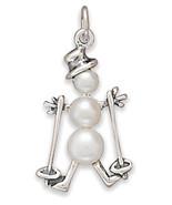 72725 cultured freshwater pearl skiing snowman charm thumbtall