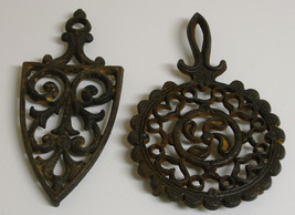 Cast Iron Trivets Traditional Round and Iron shape Set of 2  - $12.99