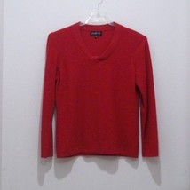 Jones New York Sweater Womens XLarge 100% Cashmere Cherry Red V-Neck #1662 - $44.99