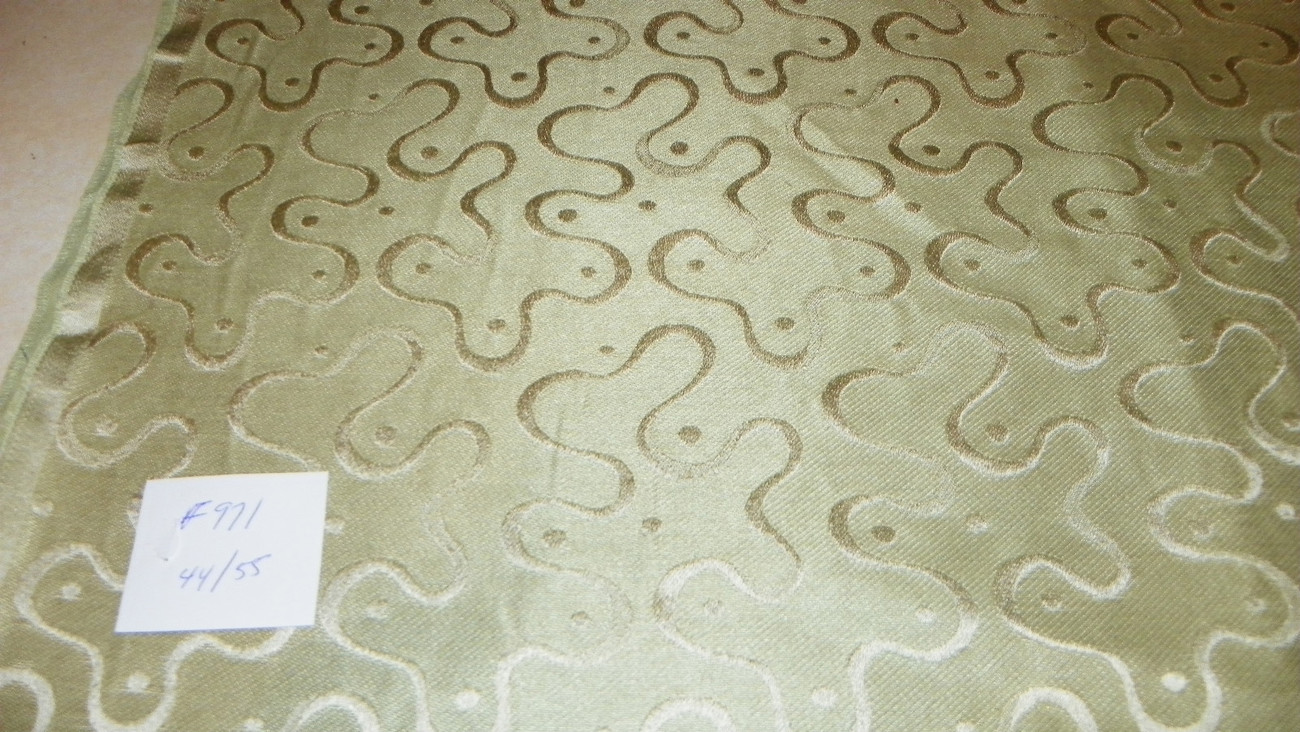 Green Swirl Print Damask Upholstery Fabric Remnant  F971 - $29.95