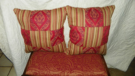 Pair of Red  Gold Stripe Print  PatchworkThrow Pillows - $49.95