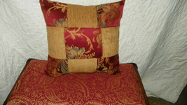 Red  Gold Flower Print  PatchworkThrow Pillow - $24.95