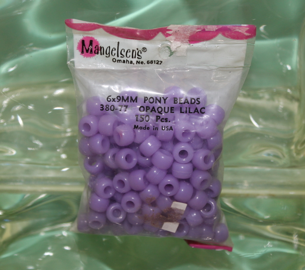 PONY BEADS MADE IN U.S.A. 6X9MM 150 PIECES PLASTIC OPAQUE LILAC
