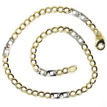 Armband Gelbgold und Weiß 18K 750, Curb Chain Damen und Doppelt Quadrate... - $232.08