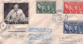 FRANKLIN DELANO ROOSEVELT In Memoriam Philippine  First Air Mail Stamps  - $2.95