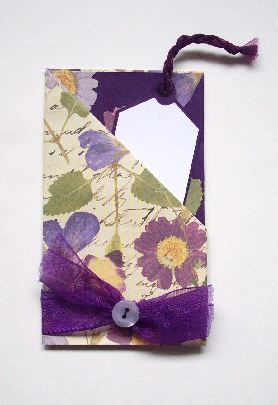 gift card holder with envelope handmade new purple  card