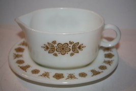 Pyrex Milk Glass Gravy Boat and Drip Tray 1970's - $14.93