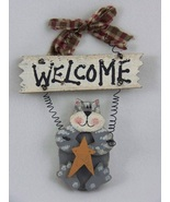 Grey Cat Primitive Wooden Welcome Sign - $4.99