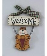 Orange Cat Primitive Wooden Welcome Sign - $4.99