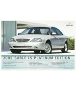 2005 Mercury SABLE LS PLATINUM EDITION sales brochure sheet US 05 - $6.00