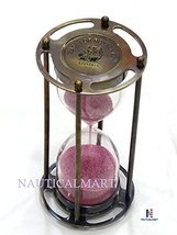 NauticalMart Royal Navy London 5 Minute Antique Brass Pink Sand Timer - $60.00