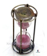 NauticalMart Royal Navy London 5 Minute Antique Brass Pink Sand Timer - $60.00