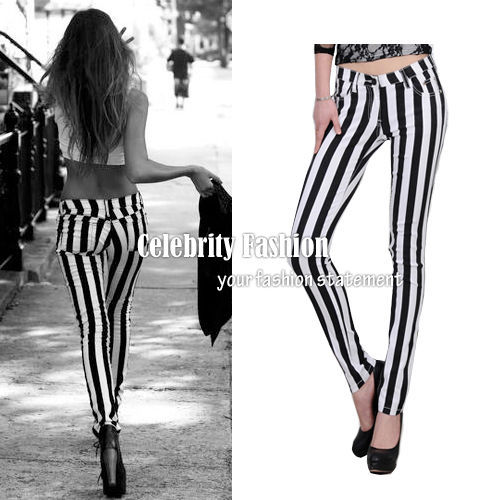 Primary image for jn27 Celebrity Style Trendy Monochrome Vertical Striped Stretch Skinny Jeans