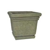 Floor Planter Pot with Attached Saucer 18.5 inches Square Aged Granite C... - €73,47 EUR