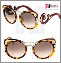 Prada Wanderer Baroque Swirl PR07TS Red Brown Havana Gold Sunglasses 07T Women - $280.67
