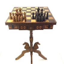 Antique Victorian Late 1800's Inlaid Hand Turned Carved Chess Board Table - $759.95