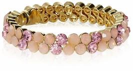 Stella + Ruby Gold Pink Austrian Crystal Magnetic Hinge Bangle Bracelet NWT