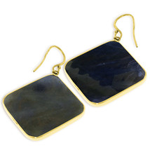14K Solid Gold Fish Hook Earrings with Checkerboard Cut Sapphires - $1,044.50