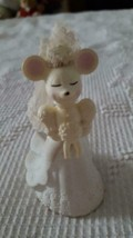 "VINTAGE AVON WEDDING CHURCH MOUSE BRIDE EMPTY DECANTER,4.5"",AGE YELLOWIN... - $4.94"