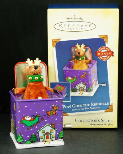 Primary image for Hallmark Ornament POP! GOES THE REINDEER Jack in the Box Memories 2005 NIB