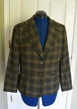 Talbots Two Button Wool Blend Blazer Jacket Plaid Green 14P 14 Petites NWT - $99.95