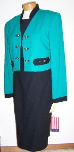 NEW w/ TAGS 1980's VINTAGE SANDRA OW-WING NR1 3 PIECE 100% WOOL SKIRT SUIT 10