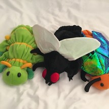 Lot 3 Plush Hand Puppets Caltoy Beetle Fly Caterpillar Insect Soft Toys ... - $38.69