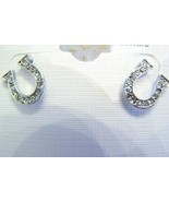 SPARKLY LUCKY HORSE SHOES SILVER TONE RHINESTONE AUSTRIAN CRYSTAL EARRINGS - $19.99
