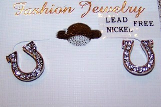 SPARKLY LUCKY HORSE SHOES SILVER TONE RHINESTONE AUSTRIAN CRYSTAL EARRINGS