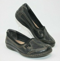 Clarks Size 8M Collection Soft Cushion Black Leather Slip On Comfort Shoes - $23.74