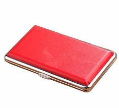 24station PU Slim Thin Cigarette Case Cigarette Box Cigarette Holder, Red - $14.77