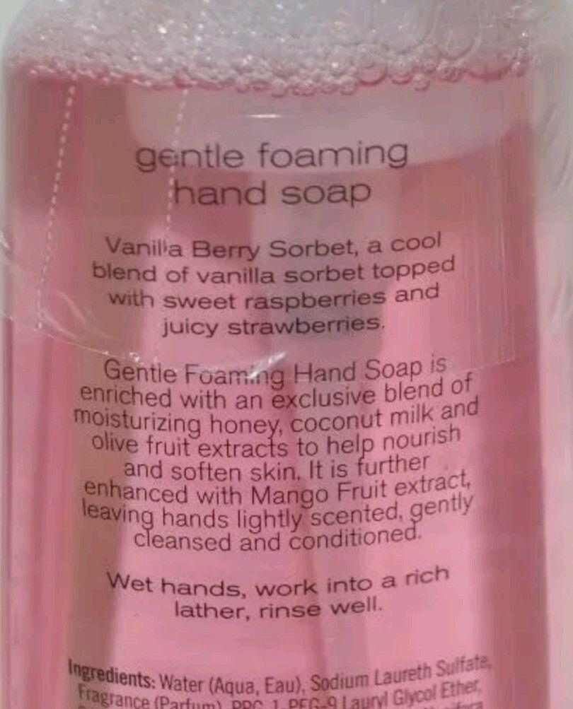 Rare BATH & BODY WORKS VANILLA BERRY SORBET FOAMING HAND SOAP ANTI BACTERIAL