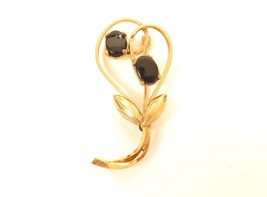 Wells 14K GF Signed Gold Filled Flower Pin Brooch*Black Onyx Cabochons*F313 - $24.74