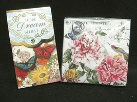 Michel Design Works~20 Napkins Peony Butterfly Floral & Punch Studio Not... - $12.16