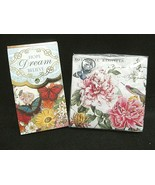 Michel Design Works~20 Napkins Peony Butterfly Floral & Punch Studio Note Pad - $12.16