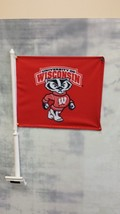 2  Wisconsin  Badgers TWO SIDED CAR FLAGS BUCKY Banners + poles made USA... - $13.98
