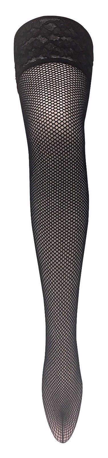 Ladies Black Floral Deep Lace Top Fashion Over Knee Fishnet Hold Ups Stockings
