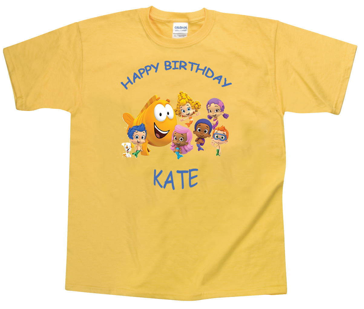 Primary image for Personalized Custom Bubble Guppies Yellow Birthday T-Shirt Gift Add Your Name #2