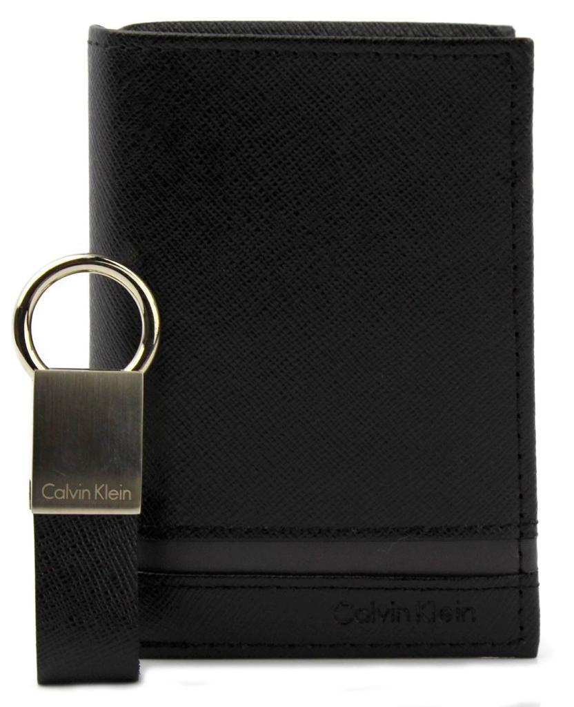 NEW CALVIN KLEIN CK MEN'S LEATHER BIFOLD ID WALLET KEY CHAIN SET BLACK 79487