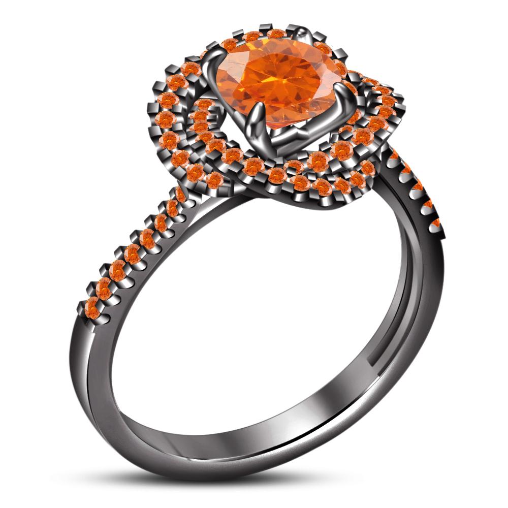 Round Cut Orange Sapphire 14k Black Gold FN 925 Silver Bridal Wedding Ring Set