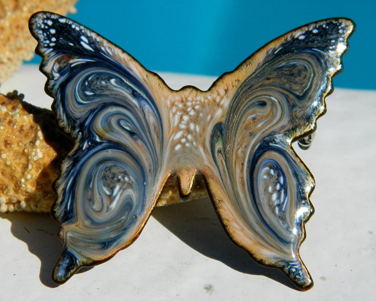 Vintage Enamel Butterfly Brooch Pin Copper Blue Swirl Modern