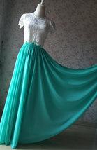 Blue Green Maxi Chiffon Skirt Silk Chiffon Maxi Skirt Wedding Chiffon Skirt image 8